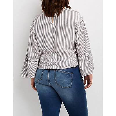 Plus Size Striped Bell Sleeve Top