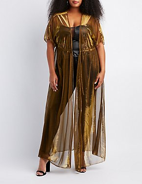 Plus Size Metallic Mesh Tie-Front Duster