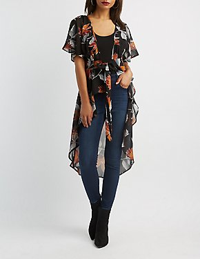 Floral Tie Front High-Low Tunic Top