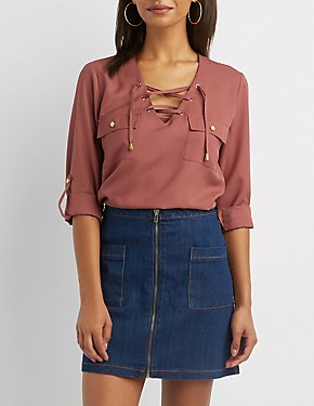 Lace-Up Pocket Shirt