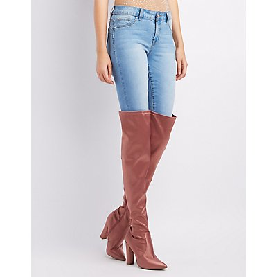 Bamboo Pointed Toe Over-The-Knee Boots