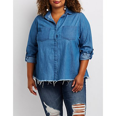 Plus Size Chambray Button-Up Flyaway Top