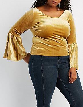 Plus Size Velvet Pleated Bell Sleeve Top
