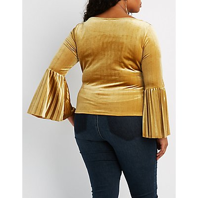 Plus Size Velvet Pleated Bell Sleeve Top