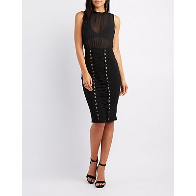 Lace-Up Detail Bodycon Dress