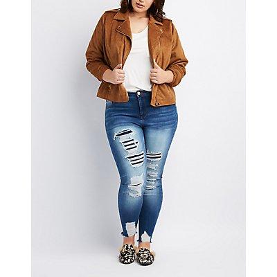 Plus Size Refuge Destroyed Patchwork Skinny Jeans