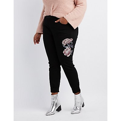 Plus Size Refuge Floral Print Destroyed Skinny Jeans