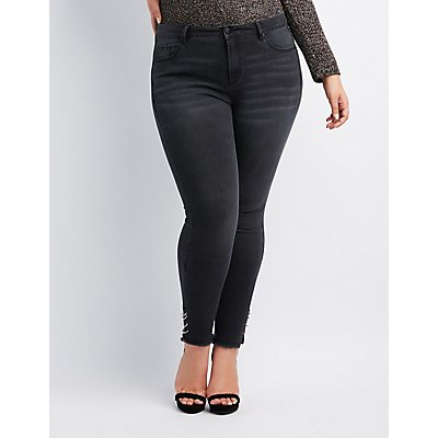 Plus Size Refuge O-Ring Frayed Hem Skinny Jeans