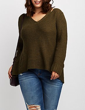 Plus Size Cut-Out Pullover Sweater