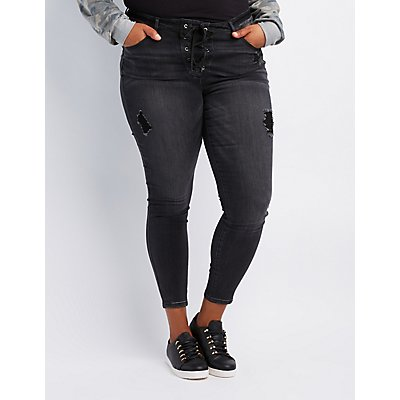 Plus Size Refuge Destroyed Lace-Up Skinny Jeans