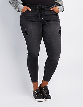 36f7d3e6ebf Plus Size Refuge Destroyed Lace-Up Skinny Jeans