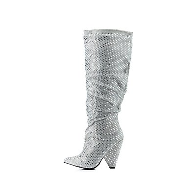 Bamboo Ruched Rhinestone Pointed Toe Boot