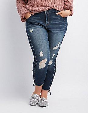Plus Size Refuge Destroyed Lace-Up Skinny Jeans