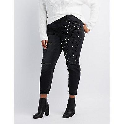 Plus Size Refuge Destroyed Pearl Applique Jeans