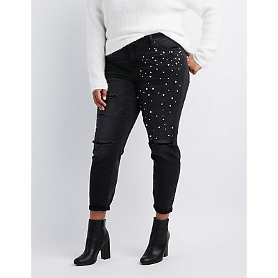 Plus Size Refuge Destroyed Pearl Applique Jeans