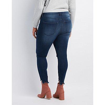 Plus Size Refuge Grommet-Trim Destroyed Skinny Jeans