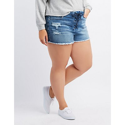 Plus Size Refuge Destroyed Lace-Up Cheeky Shorts