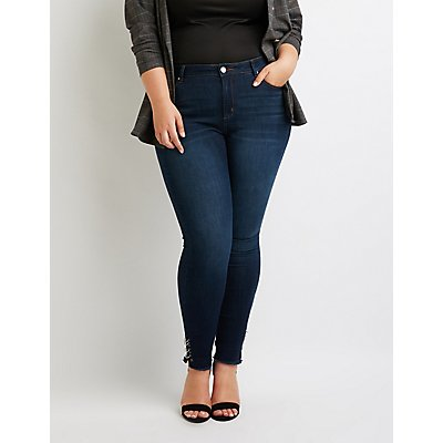 Plus Size Refuge O-Ring Frayed Hem Skinny Jeans