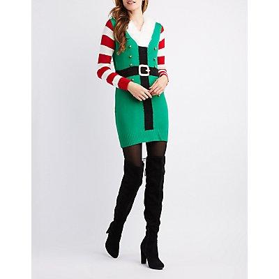 V-Neck Fuzzy Collar Elf Tunic