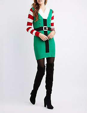 V-Neck Fuzzy Collar Elf Tunic