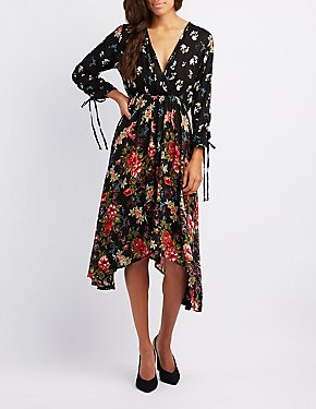 Floral Sharkbite Hem Dress