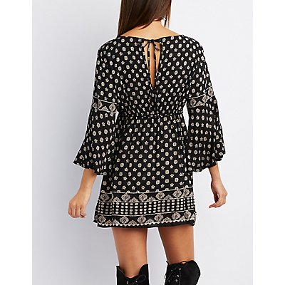 Border Print Bell Sleeve Babydoll Dress