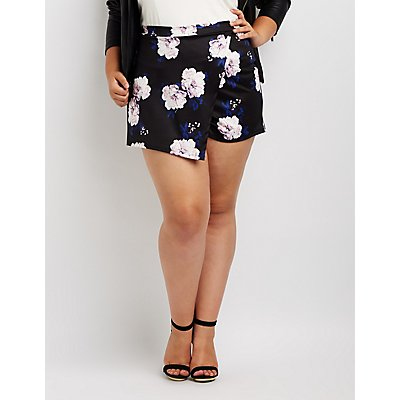 Plus Size Floral Wrap Skort