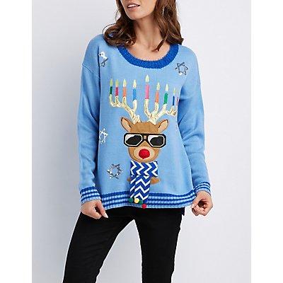 Light-Up Reindeer Nose Menorah Sweater