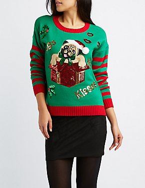 Pugs & Kisses Holiday Pullover Sweater