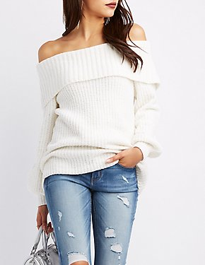 Chenille Balloon Sleeve Off-The-Shoulder Sweater