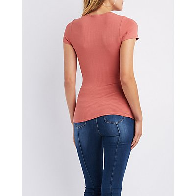 Ribbed Lattice-Front Top