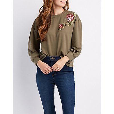Floral And Sequin Detail Pullover Sweatshirt