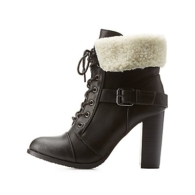 Belted Sherpa-Collared Lace-Up Booties