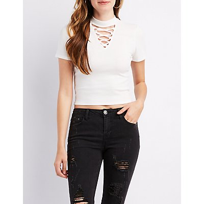 Caged Mock Neck Ribbed Top