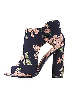 Qupid Floral Cut-Out Ankle Booties