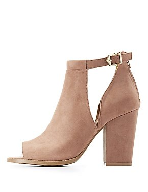 Qupid Cut-Out Peep Toe Booties