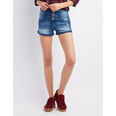 Refuge Hi-Waist Shortie Denim Shorts
