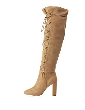 Qupid Lace-Up Over-The-Knee Boots