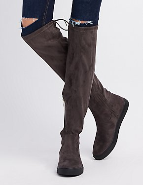 Qupid Tie-Back Over-The-Knee Flat Boots