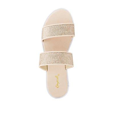 Qupid Glitter Two-Strap Slides