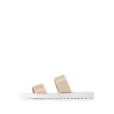 Qupid Glitter Two-Strap Slides