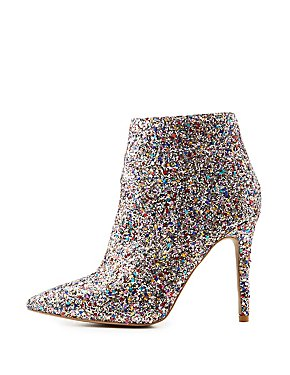 Sequin Pointed Toe Ankle Booties