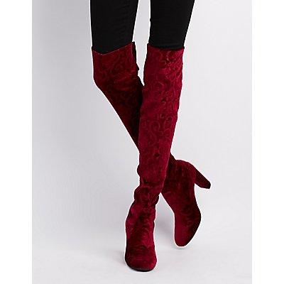 Qupid Embossed Velvet Over-The-Knee Boots