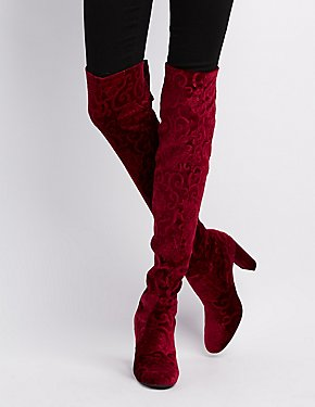 Qupid Embossed Velvet Over-The-Knee Boots