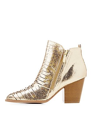 Qupid Metallic Destroyed Ankle Booties