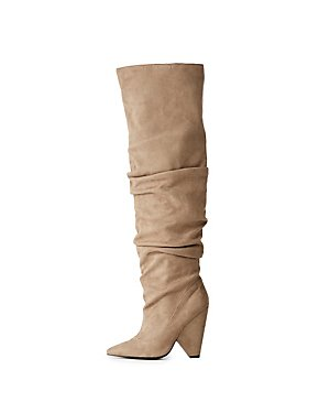 Qupid Slouchy Pointed Toe Over-The-Knee Boots