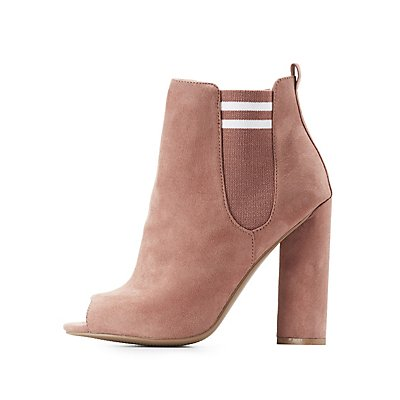 Qupid Striped Peep Toe Booties