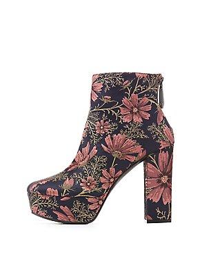 Qupid Floral Brocade Platform Ankle Booties