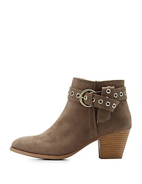 Qupid Buckled Grommet-Trim Ankle Booties