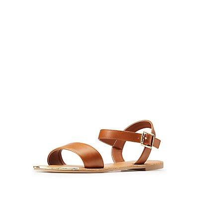 Metal-Trim Flat Sandals